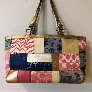 Coach Poppy Patchwork Shoulder Tote Beautiful